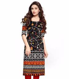 Buy Black printed cotton un-stitched kurti (Free Size) kurtas-and-kurti online