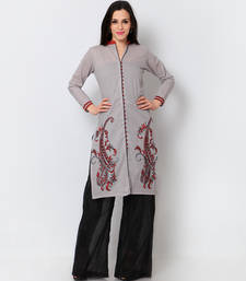 Buy Grey cotton embroidered stitched fancy kurti kurtas-and-kurti online