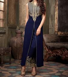 Buy Blue cotton silk embroidered semi stitiched salwar with dupatta collar-neck-design online
