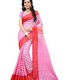 Buy Pink woven cotton saree With Blouse cotton-saree online