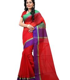 Buy Red woven cotton saree With Blouse cotton-saree online