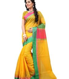 Buy Yellow woven cotton saree With Blouse cotton-saree online