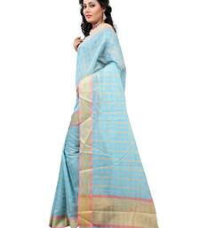 Buy Blue woven cotton saree With Blouse cotton-saree online