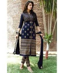 Buy Blue embroidered cotton unstitched salwar with dupatta cotton-salwar-kameez online