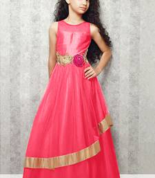 Buy pink satin designer embroidered partywear kids gown kids wear kids-salwar-suit online