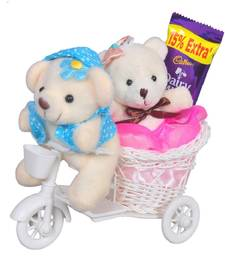 Buy Pink scooter with couple teddy valentine gift set gifts-for-girlfriend online