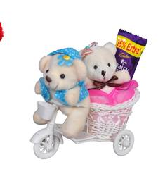 Buy Cute pink scooter with couple teddy bear heart valentine gift set gifts-for-girlfriend online