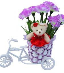 Buy Beautiful flower basket with cute teddy girl valentine gift set gifts-for-girlfriend online