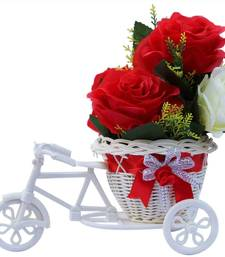 Buy Beautiful roses flower vase basket cycle valentine gift set gifts-for-girlfriend online
