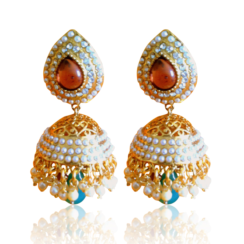 Buy Ethnic Pearl Jhumka Earrings With Wine Stones By Adiva
