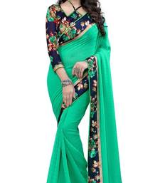 Buy Green printed chiffon saree With Blouse chiffon-saree online