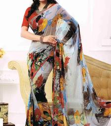 Buy Designer Grey Polyester Sarees by FABFIZA printed-saree online
