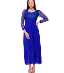 Buy Blue colored round neck dress_m western-wear online