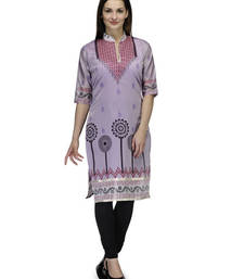 Buy Purple cotton woven stitched kurti plus-size-kurti online