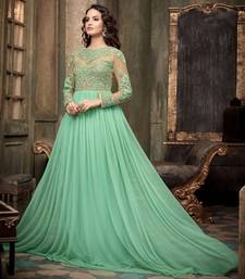Buy Green net embroidered semi stitiched salwar with dupatta party-wear-gown online
