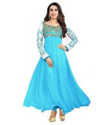 Buy Skyblue georgette semi stitched salwar with dupatta anarkali-salwar-kameez online