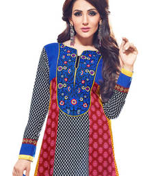 Buy CottonBazaar Multi Colored Pure Cotton Semi-Stitched Salwar Kameez semi-stitched-salwar-suit online