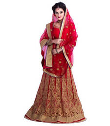 Buy Red georgette and net embroidery unstitched lehenga choli lehenga-below-1000 online