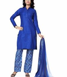 Buy Blue Cotton plain stitched salwar with dupatta readymade-suit online