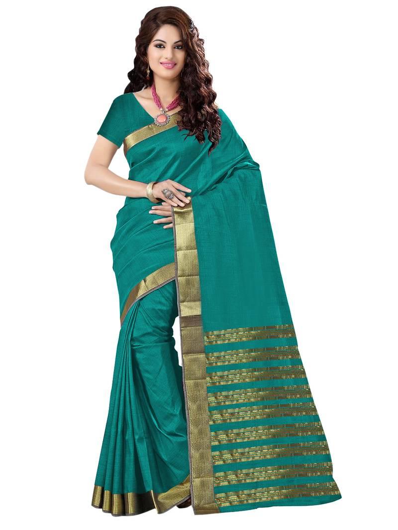 Buy Rama Plain Cotton Silk Saree With Blouse Online