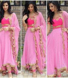 Buy Pink georgette semi stitched salwar with dupatta dress-material online