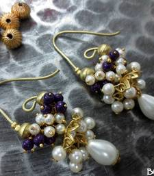 Buy Long_Hook_Jhumka_White_Purple_Cluster_Pearl_Drop danglers-drop online