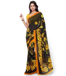 Buy black printed georgette saree With Blouse bhagalpuri-silk-saree online