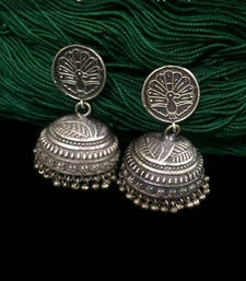 Buy Silver Metal Jhumka for Durga Puja stud online