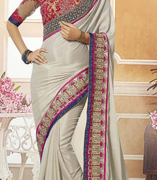 Buy Multi embroidered georgette saree With Blouse designer-embroidered-saree online