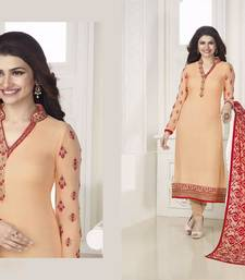 Buy peach georgette embroidered semi stitched salwar with dupatta cotton-salwar-kameez online
