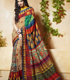 Buy multicolor printed tussar silk saree With Blouse ethnic-saree online