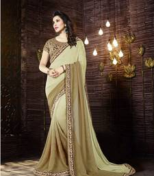 Buy beige embroidered crepe saree With Blouse crepe-saree online