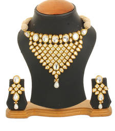 Buy Ethnic Indian Pearl Mala Kundan Choker Chick Necklace set For Women necklace-set online