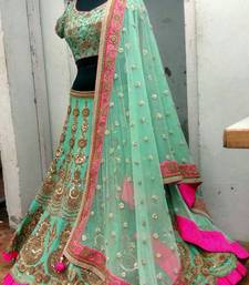 Buy Green Benglory Silk Unstitched Lehenga Choli black-friday-deal-sale online
