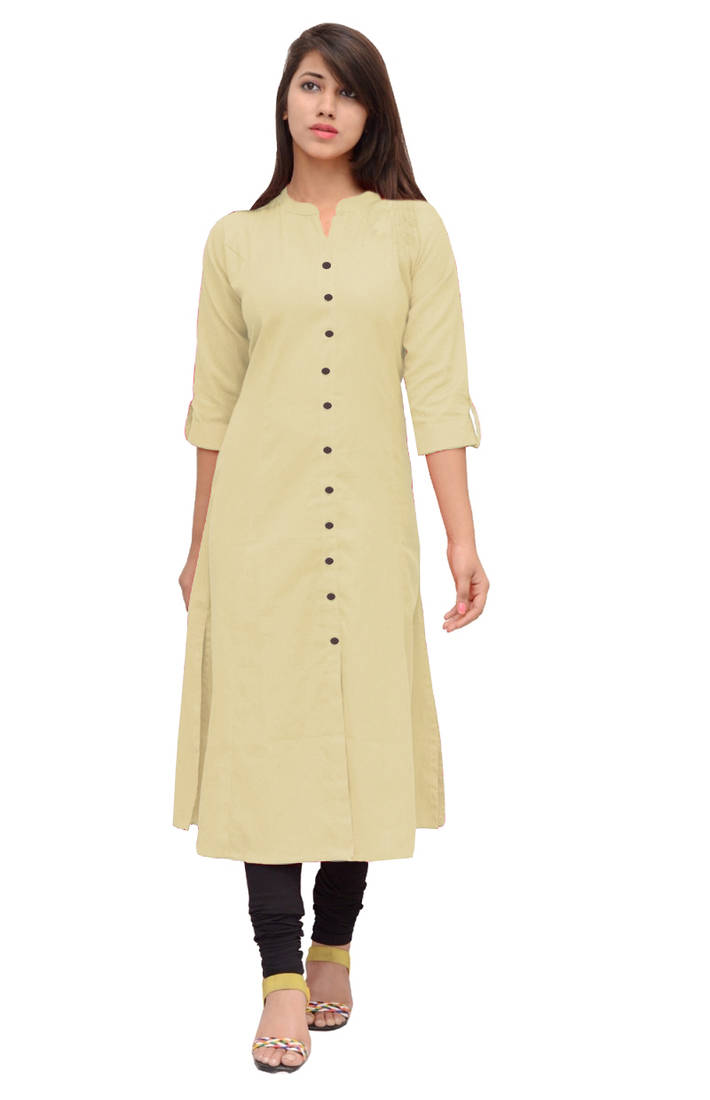 Buy Cream Linen Plain Stitched Kurti Online