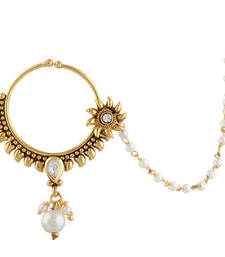 Buy Sunflower Kundan Bridal Jewelry Set Pierced Nose Ring Nathni with Chain nose-ring online