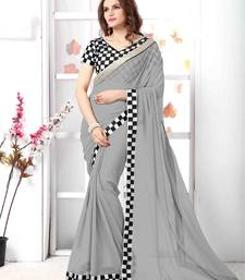 Buy Grey embroidered chiffon saree with blouse chiffon-saree online