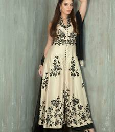 Buy Beige embroidered art silk semi stitched salwar party-wear-salwar-kameez online