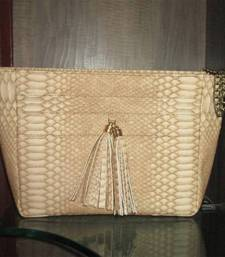 Buy Regalia Couture Label Beige Snake Print Sling Bag handbag online