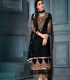 Buy Black georgette embroidered semi stitched salwar with dupatta pakistani-salwar-kameez online