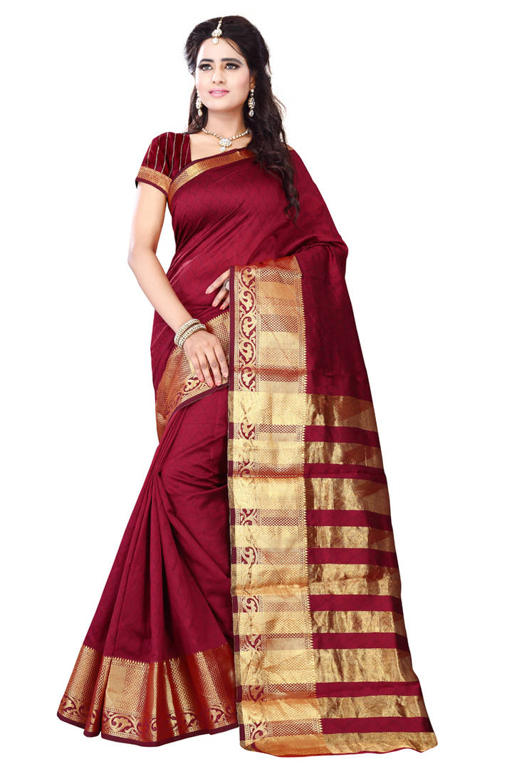 Buy Red Plain Art Silk Saree With Blouse Online