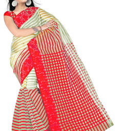 Buy red printed tissue saree With Blouse tissue-saree online