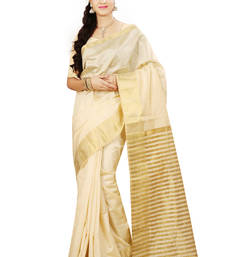 Buy Chikoo woven tussar_silk saree With Blouse tussar-silk-saree online