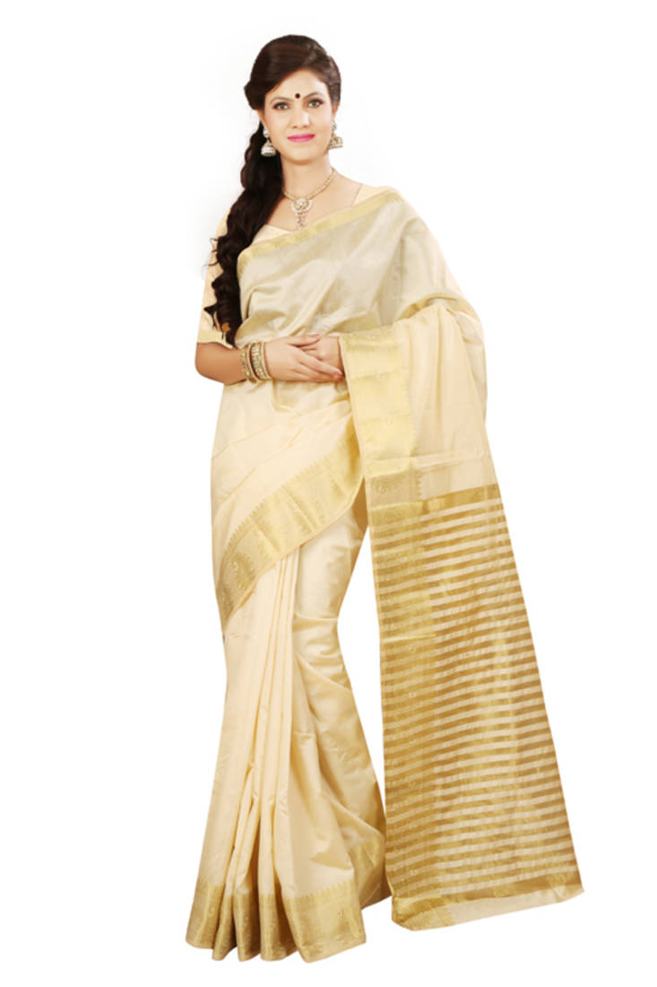 Buy Chikoo Woven Tussar Silk Saree With Blouse Online