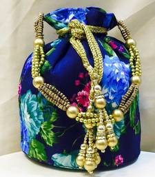 Buy Blue raw silk potli bags potli-bag online