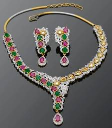 Buy RED N GREEN STONE STUDDED NECKLACE SET Necklace online