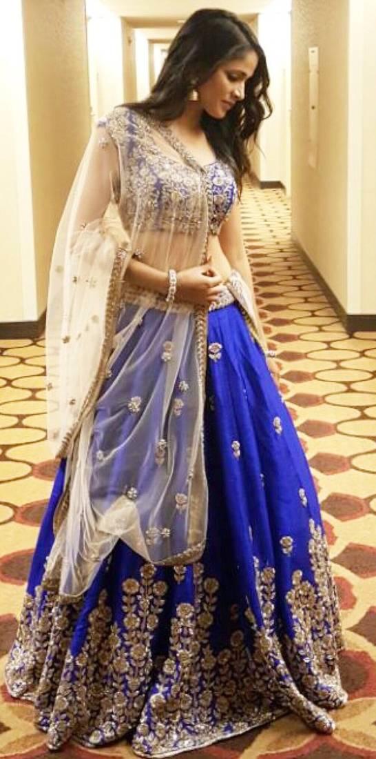 Buy blue embroidery banglori lehenga with dupatta Online