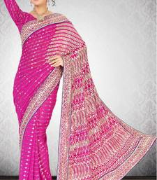 Buy Magenta Color Faux Georgette Saree with Bloues georgette-saree online