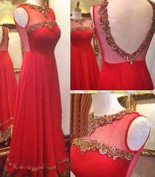 Buy Red net embroidered semi stitched salwar with dupatta bollywood-salwar-kameez-online online