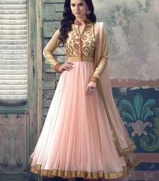 Buy Pink net embroidered semi stitched salwar with dupatta bollywood-salwar-kameez-online online